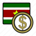 america, coin, currency, dollar, exchange, suriname, world icon