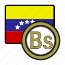 america, bolivar, coin, currency, exchange, venezuela, world icon