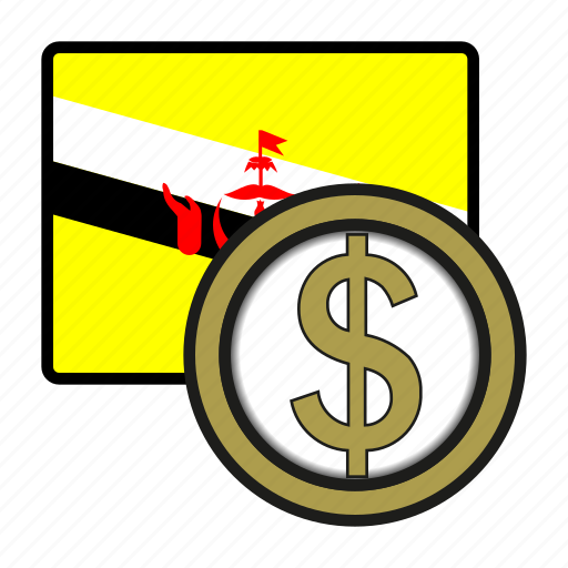 asia, bruney, coin, currency, dollar, exchange, world icon