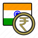 asia, coin, currency, exchange, india, rupee, world icon