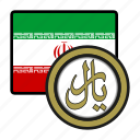 iran, exchange, coin, rial, money, payment icon