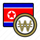 asia, coin, currency, exchange, korea, won, world icon