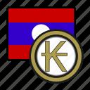 exchange, kip, laos, coin, money, payment icon