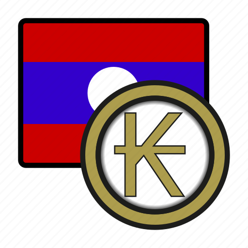 asia, coin, currency, exchange, kip, laos, world icon