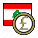 asia, coin, currency, exchange, lebanon, pound, world icon
