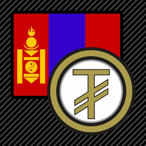asia, coin, currency, exchange, mongolia, tughrik, world icon