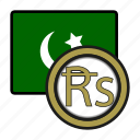 asia, coin, currency, exchange, pakistan, rupee, world icon