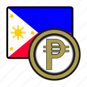 asia, coin, currency, exchange, peso, philipines, world icon