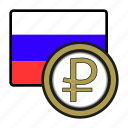 asia, coin, currency, exchange, ruble, russia, world icon