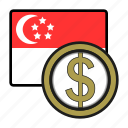 asia, coin, currency, dollar, exchange, singapore, world icon