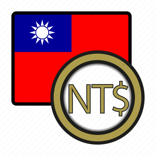 asia, coin, currency, dollar, exchange, taiwan, world icon