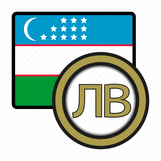asia, coin, currency, exchange, som, uzbekistan, world icon