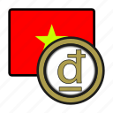 asia, coin, currency, dong, exchange, vietnam, world icon