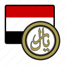coin, exchange, yemen, rial, money, payment icon