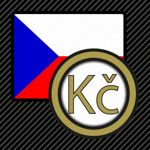 coin, currency, czech, exchange, koruna, republic, world icon