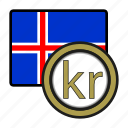 coin, currency, europe, exchange, iceland, krona, world icon