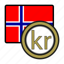 coin, currency, europe, exchange, krone, norway, world icon