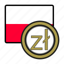 coin, currency, europe, exchange, poland, world, zloty icon