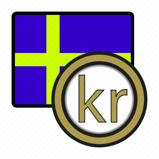 coin, currency, europe, exchange, krona, sweden, world icon