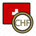 coin, currency, europe, exchange, franc, switzerland, world icon