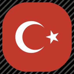 country, flag, national, turkey, turkish icon