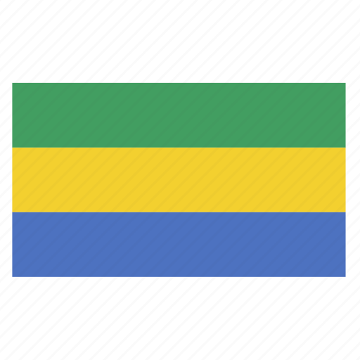 african, central, country, flag, gab, gabon icon