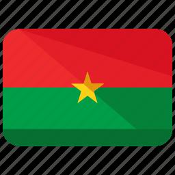 burkina, country, faso, flag, location, map, nation icon