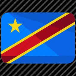 congo, country, democratic, flag, location, map, republic icon