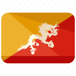 asia, bhutan, country, flag, location, map, world icon