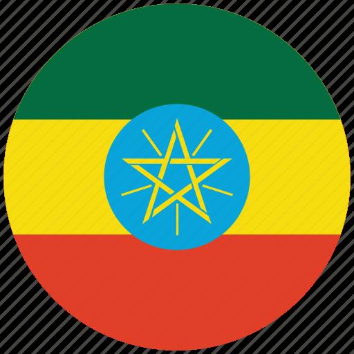 ethiopia, ethiopia's circled flag, ethiopia's flag, flag of ethiopia icon