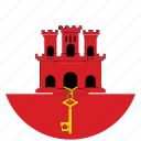 flag of gibraltar, gibraltar, gibraltar's circled flag, gibraltar's flag icon