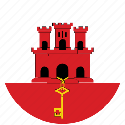 flag of gibraltar, gibraltar, gibraltar's circled flag, gibraltar's flag icon
