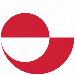 flag of greenland, greenland, greenland's circled flag, greenland's flag icon