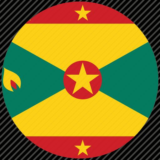 flag of grenada, grenada, grenada's circled flag, grenada's flag icon