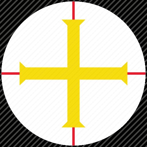 flag of guernsey, guernsey, guernsey's circled flag, guernsey's flag icon