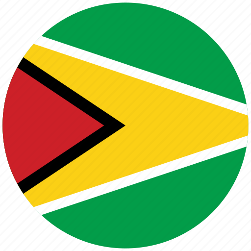 flag of guyana, guyana, guyana's circled flag, guyana's flag icon