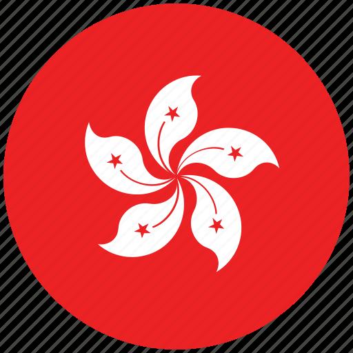 flag of hong kong, hong kong, hong kong's circled flag, hong kong's flag icon