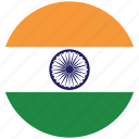 flag of india, india, india's circled flag, india's flag icon