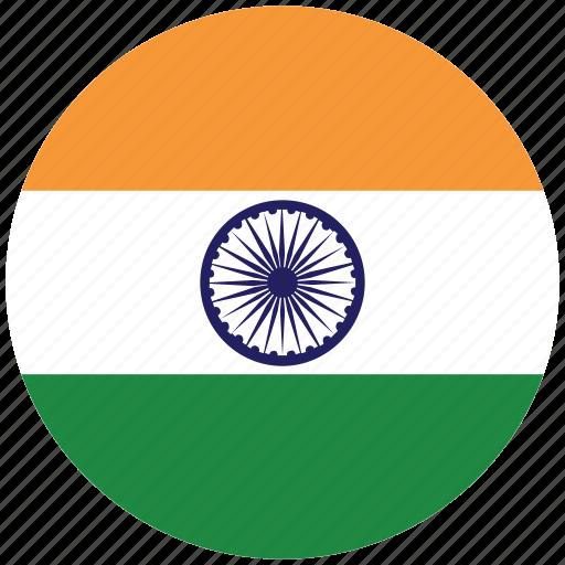 flag of india, india, india's circled flag, india's flag icon