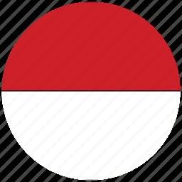 flag of indonesia, indonesia, indonesia's circled flag, indonesia's flag icon