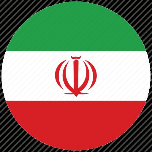 flag of iran, iran, iran's circled flag, iran's flag icon
