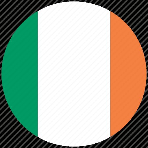flag of ireland, ireland, ireland's circled flag, ireland's flag icon