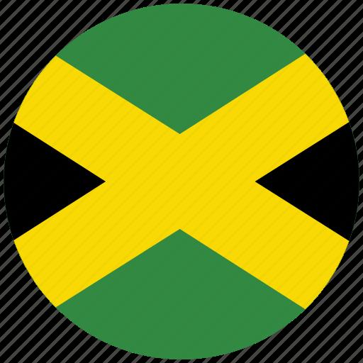 flag of jamaica, jamaica, jamaica's circled flag, jamaica's flag icon