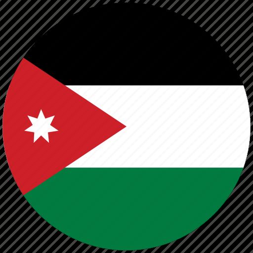 flag of jordan, jordan, jordan's circled flag, jordan's flag icon