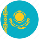 flag of kazakhstan, kazakhstan, kazakhstan's circled flag, kazakhstan's flag icon