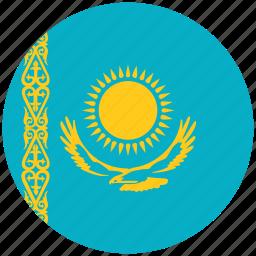 flag of kazakhstan, kazakhstan, kazakhstan's circled flag, kazakhstan's flag icon