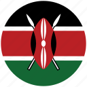 flag of kenya, kenya, kenya's circled flag, kenya's flag icon