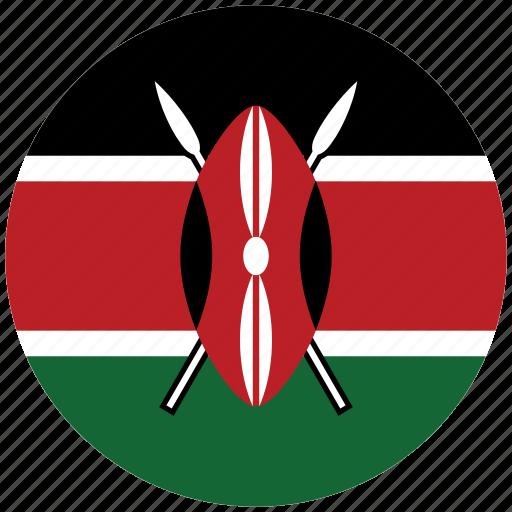 flag of kenya, kenya, kenya's circled flag, kenya's flag icon