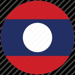 flag of laos, laos, laos's circled flag, laos's flag icon