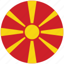 flag of macedonia, macedonia, macedonia's circled flag, macedonia's flag icon